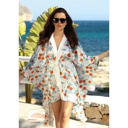 Satynowe kimono plażowe
